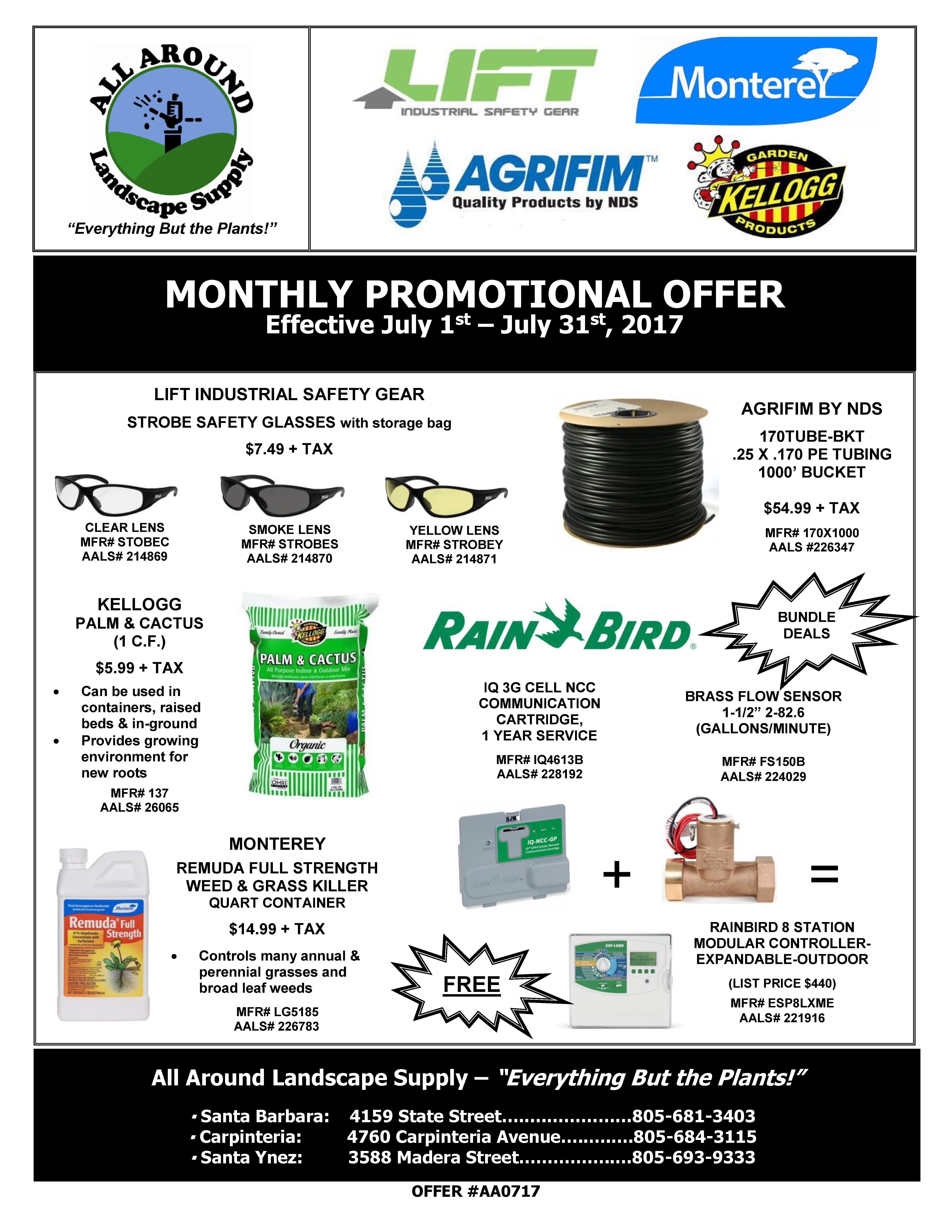 All Around Landscape July 2017 Promotions