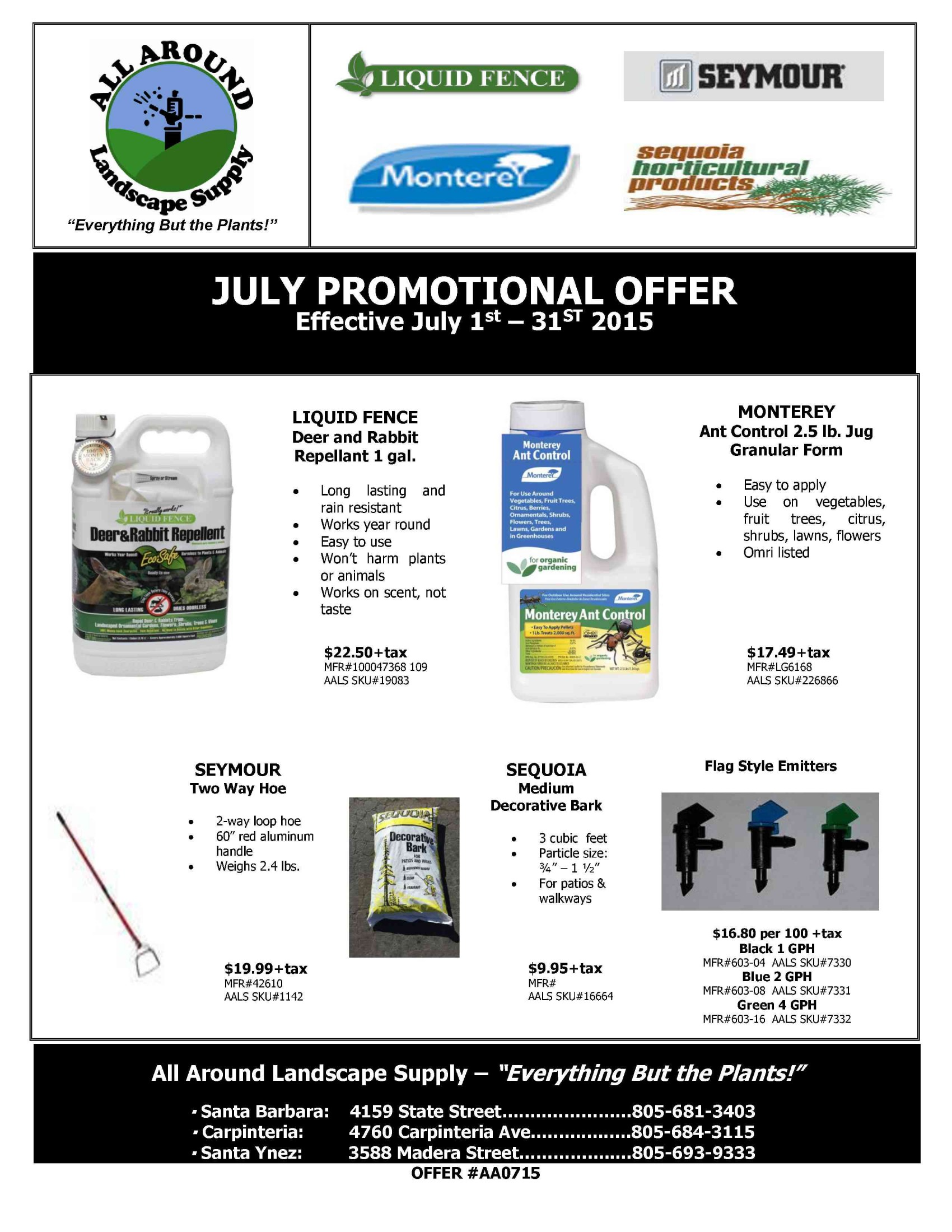 All Around Landscape July 2015 Promotions