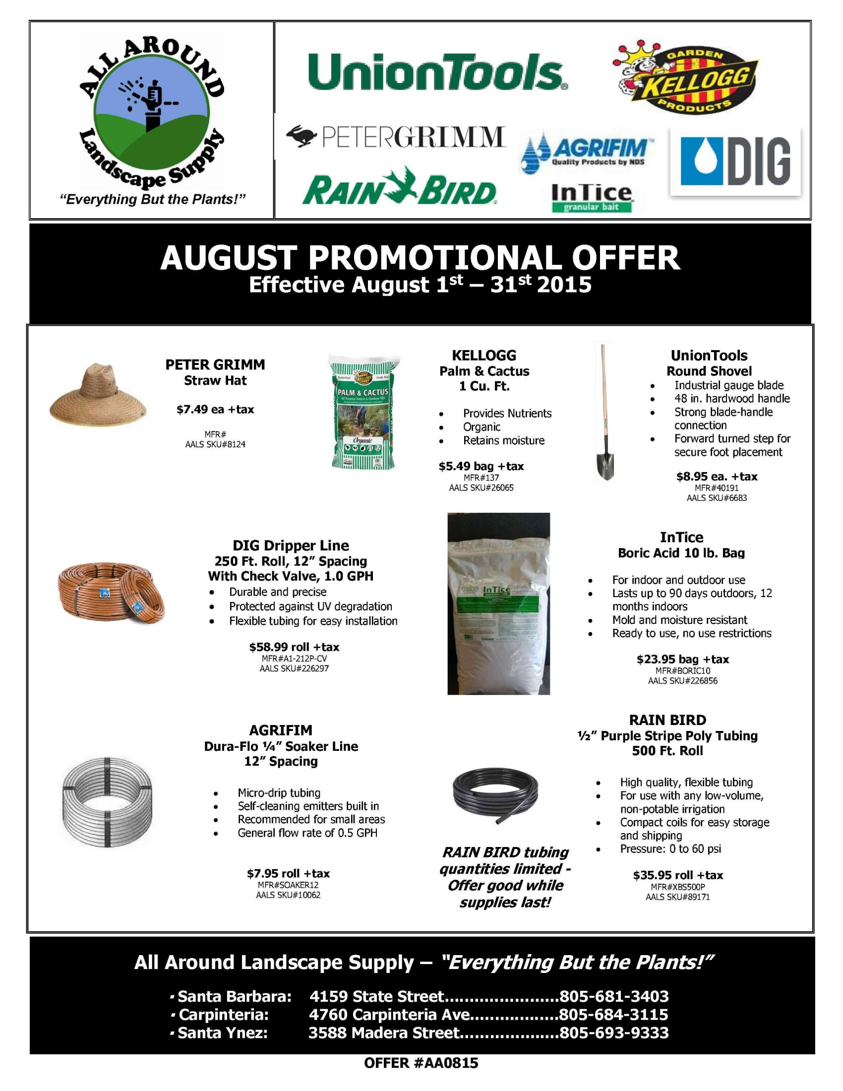 All Around Landscape August 2015 Promotions