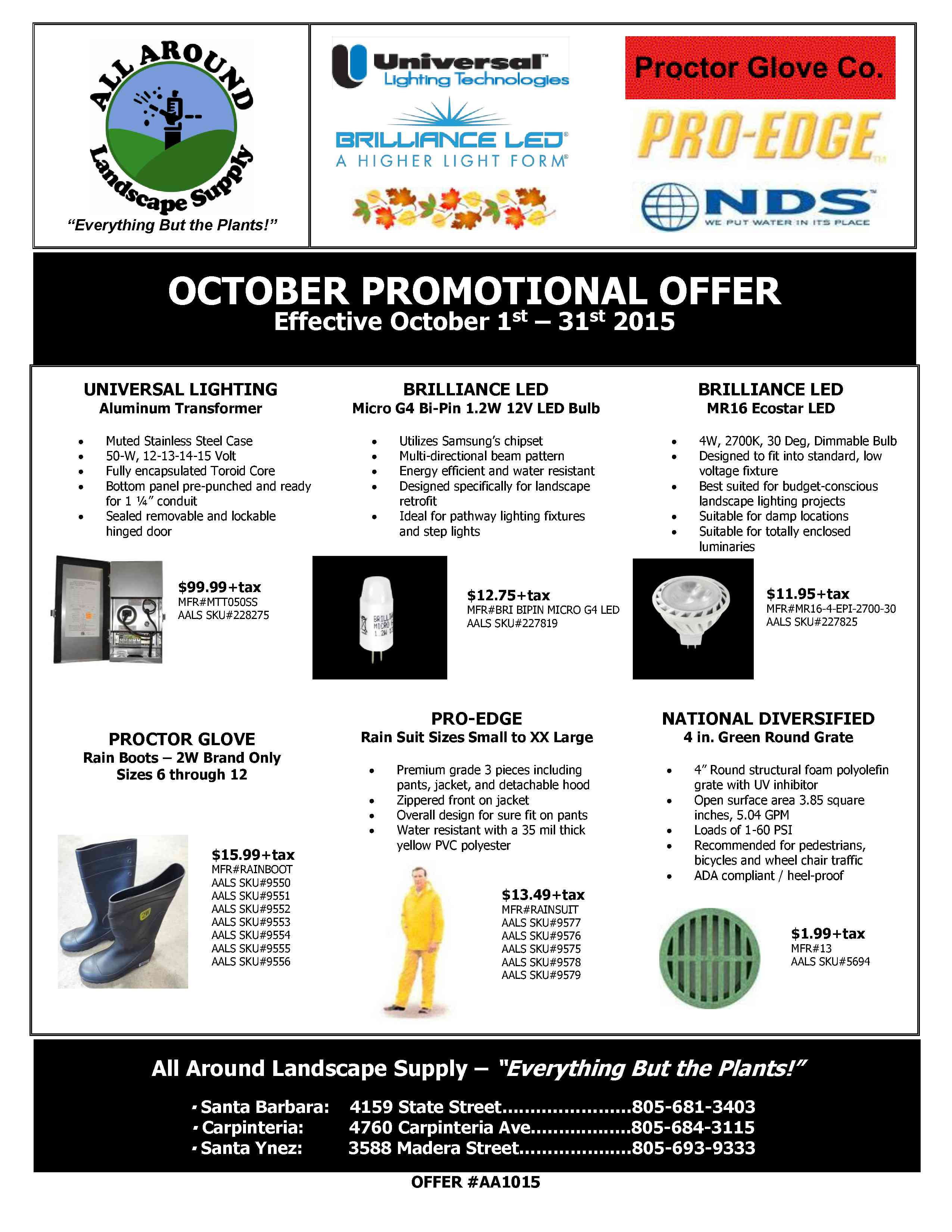All Around Landscape October 2015 Promotions
