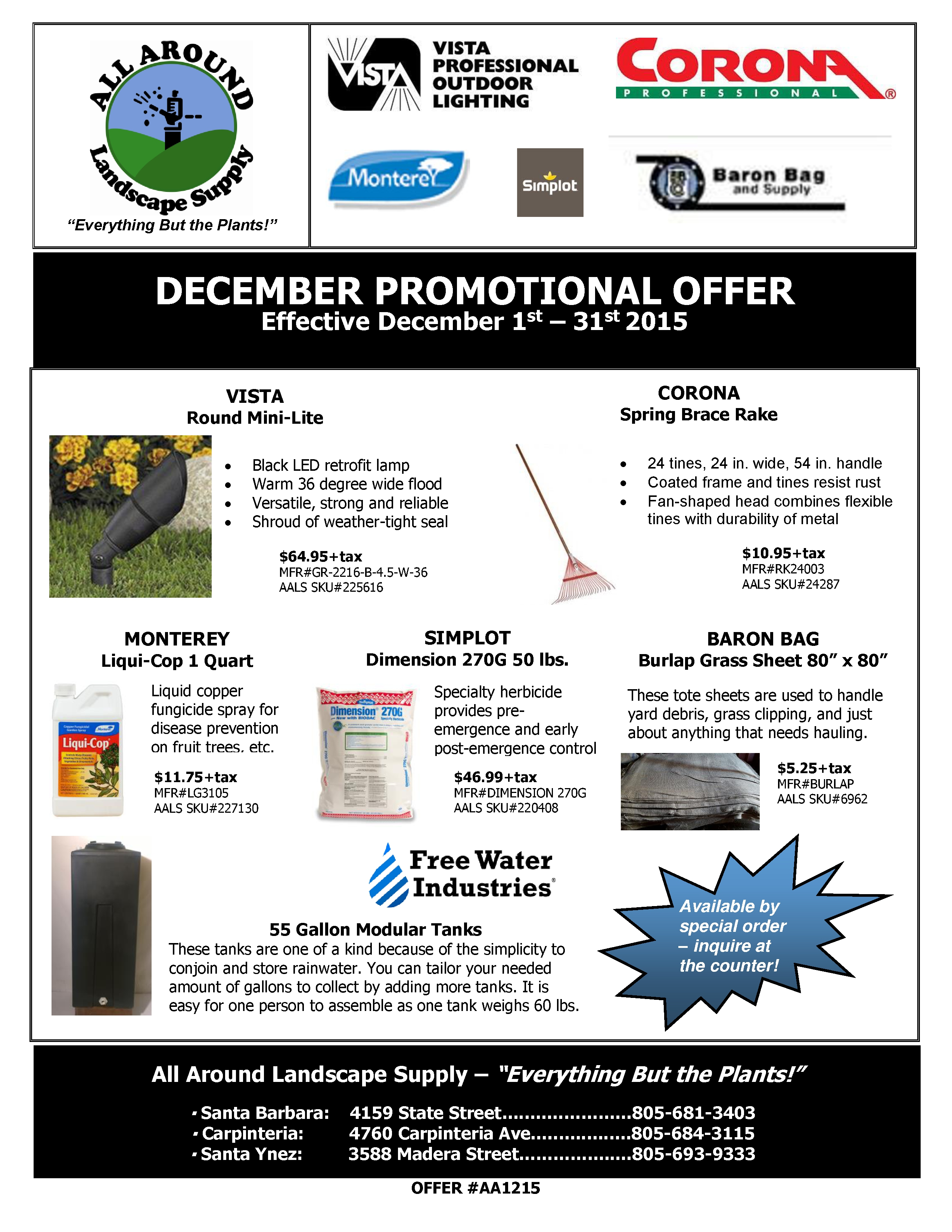 All Around Landscape Decemer 2015 Promotions