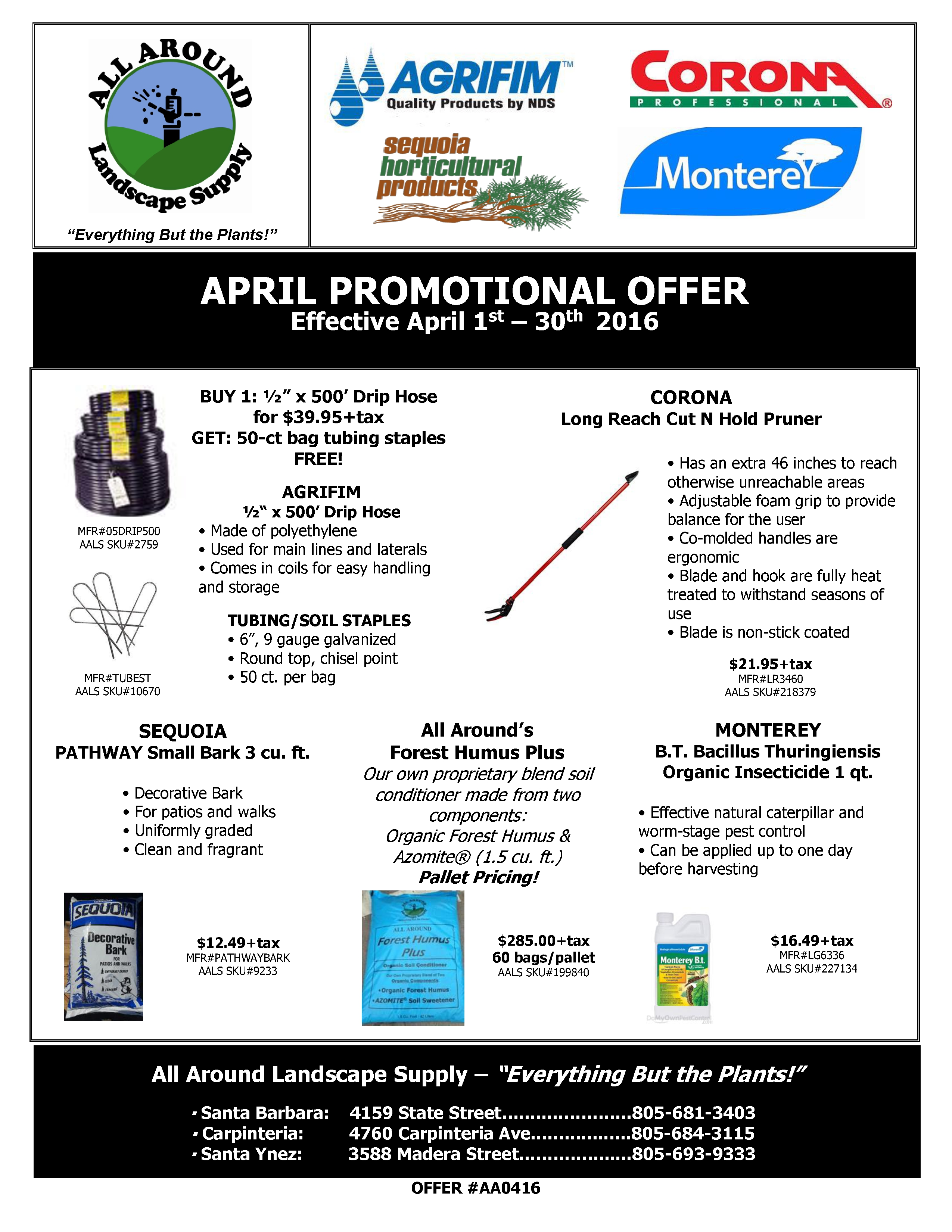 All Around Landscape April 2016 Promotions