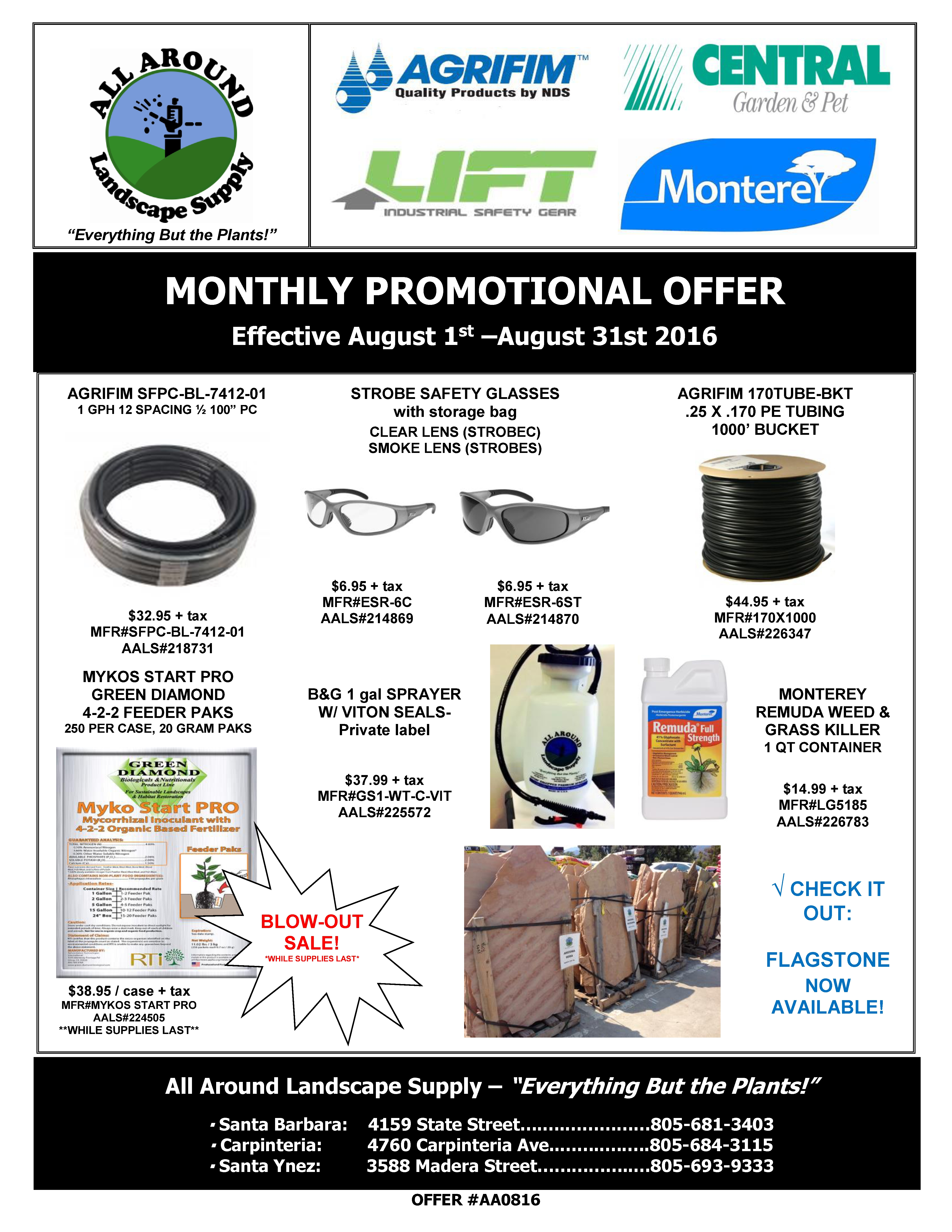 All Around Landscape August 2016 Promotions