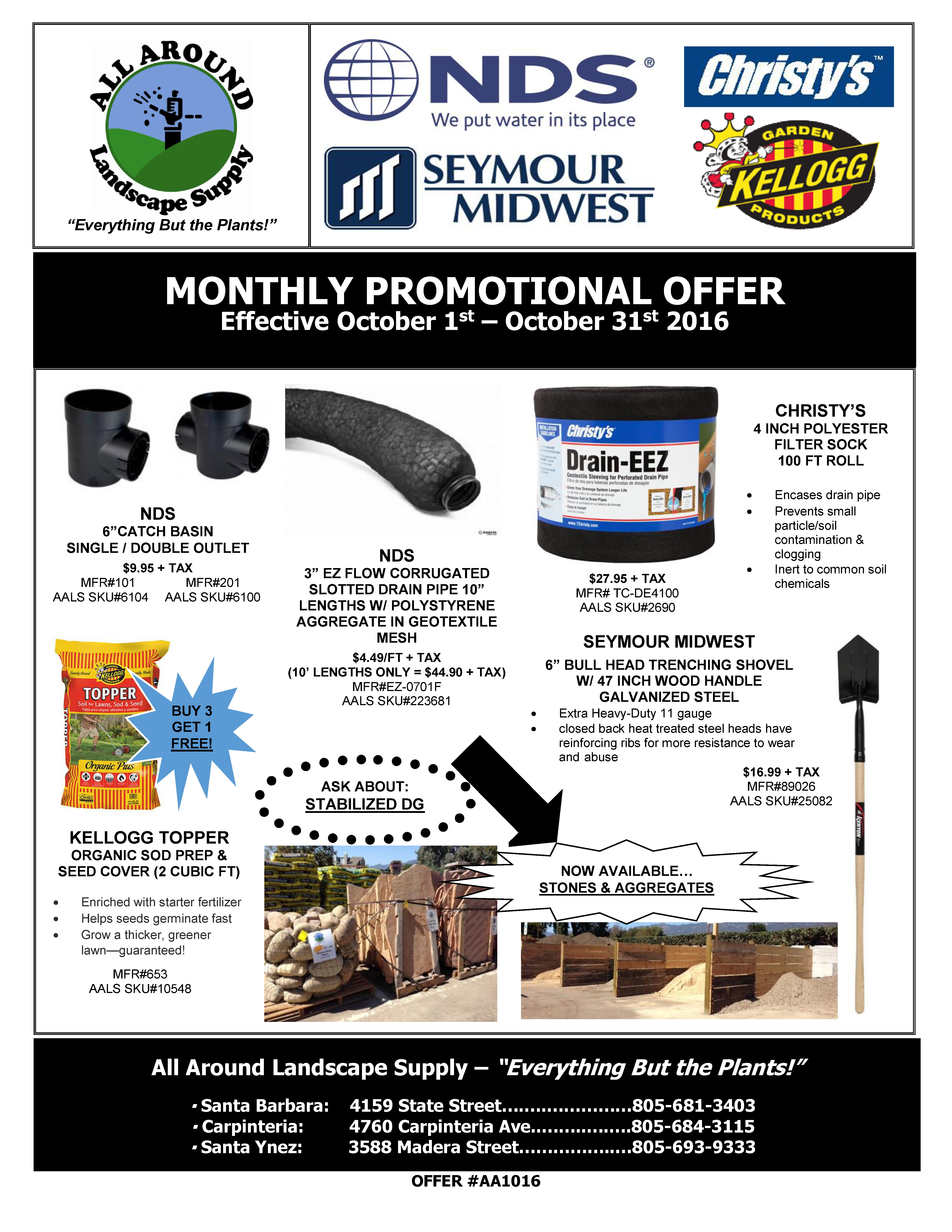 All Around Landscape October 2016 Promotions