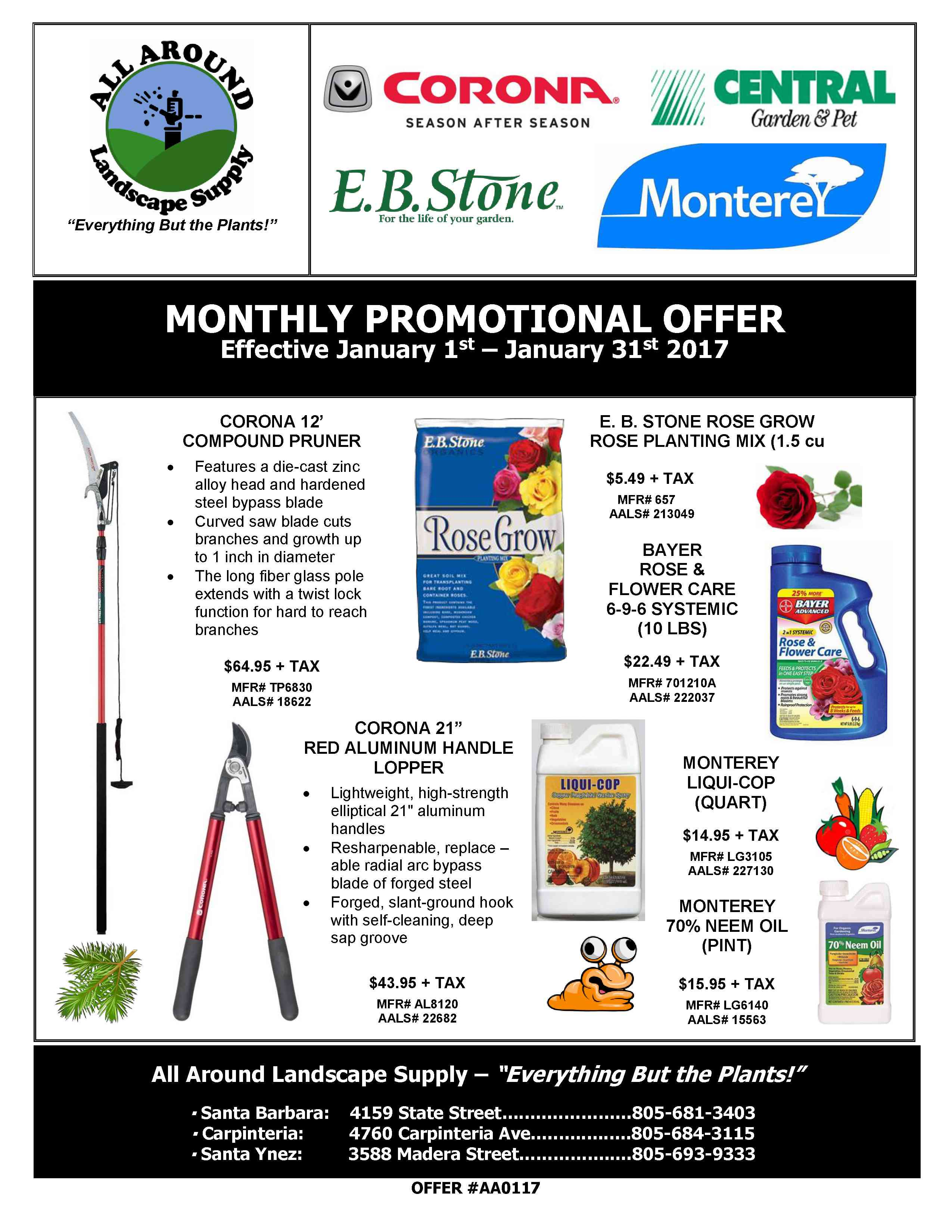 All Around Landscape January 2017 Promotions