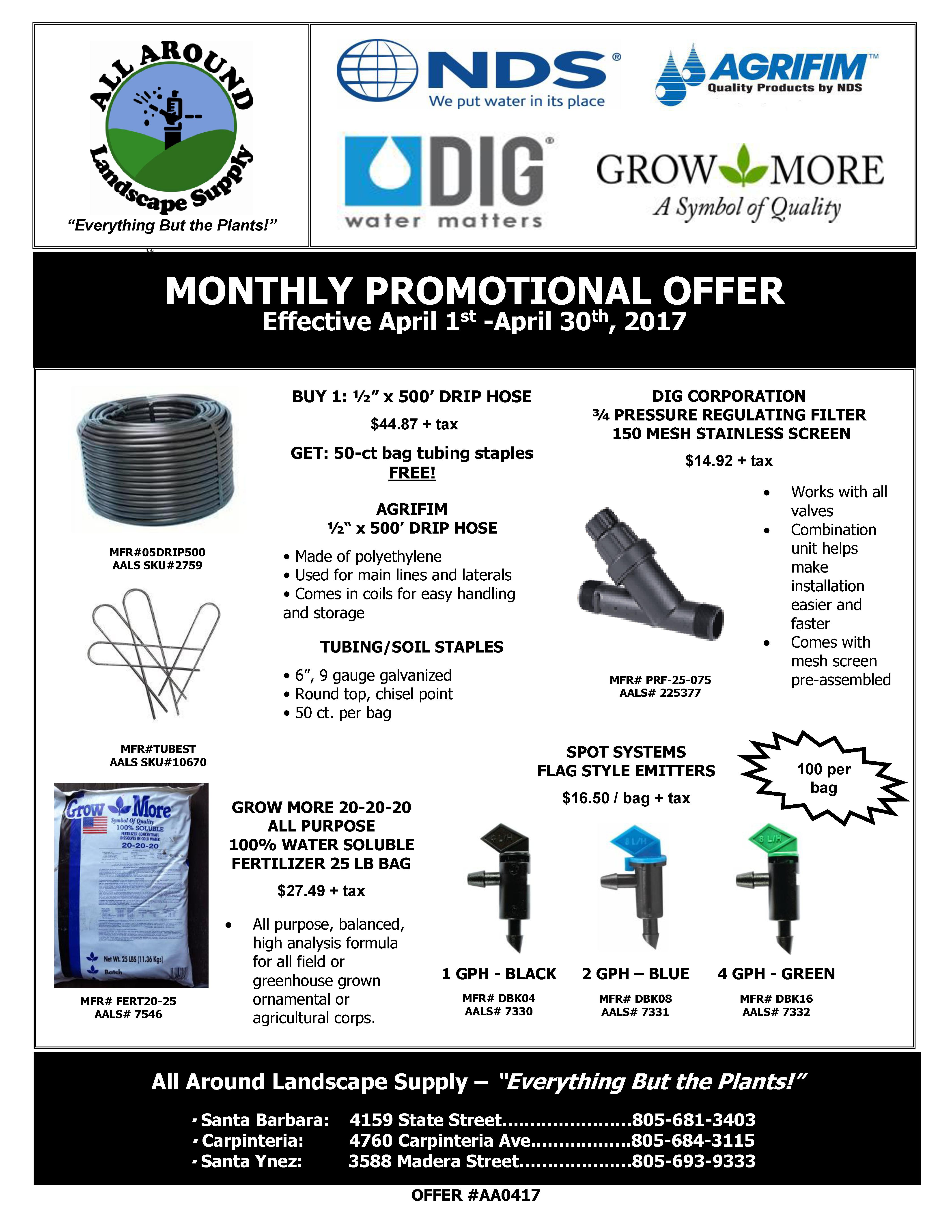 All Around Landscape April 2017 Promotions