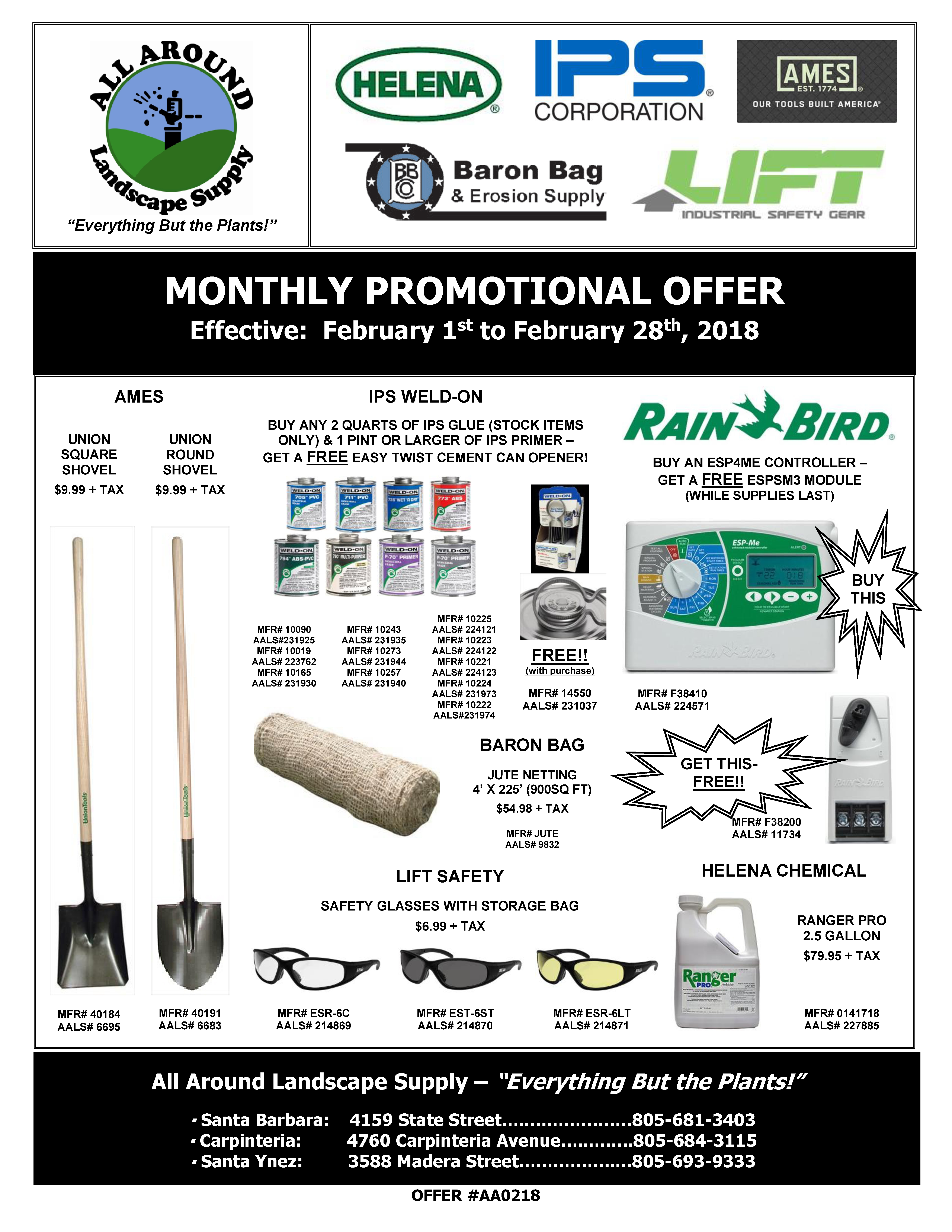 All Around Landscape February 2018 Promotions